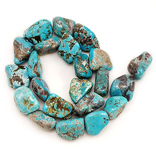 Ny6designs 01 Blue Hubei Turquoise Nugget 16x16x7mm-22x16x9mm for Necklace Gemstone Loose Beads 15