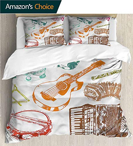 Full Queen Duvet Cover Sets,Box Stitched,Soft,Breathable,Hypoallergenic,Fade Resistant 100% Cotton Reversible 3 Pieces Kids Girls Boys Bedding Sets-Music Concert Instruments Musical (90