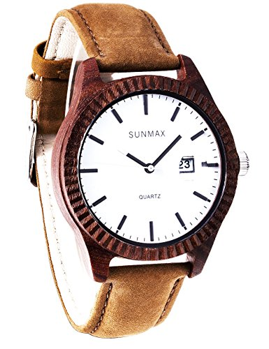 SUNMAX Wooden Wrist Watches for Men's Or Women's Red Sandalwood Series/Calendar Watch/Dial 42mm/Leather Strap/Wood Bezel/Analog Quartz Movement-Bamboo Watch - Silver Series Red Dial