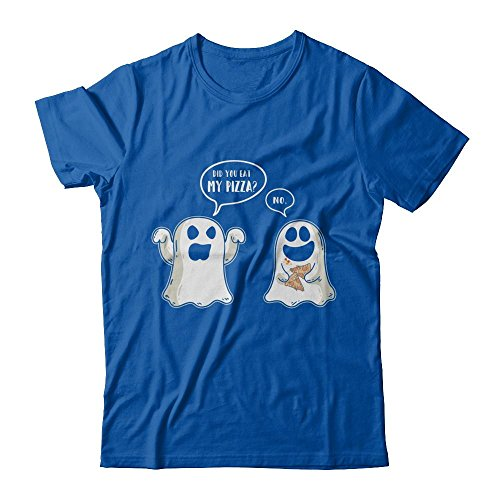 CenturyTee Funny Ghost Halloween Pizza Costume Shirt Premium Short Sleeve (Royal, L)