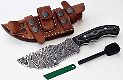 CFK Cutlery Company USA Custom Handmade TWIST DAMASCUS Steel Micarta Saw Back TRACKER Hunting Skinning Bushcraft Knife with Leather Sheath & Fire-Starter Rod Set CFK151
