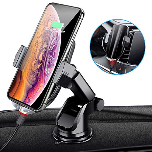 Wireless Car Charger Mount, Cboner Automatic Sensing Clamping Car Mount Holder, 7.5w/10w Qi Fast Charging Car Phone Holder Compatible with iPhone Xs/Xs Max/XR/X/ 8/8 Plus, Samsung Galaxy S10 -