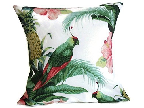 Tropical Tommy Bahama Banana Leaf Print Fabric Indoor Outdoor Pillow Cover Sham Vintage Homemade Style 14 X 14