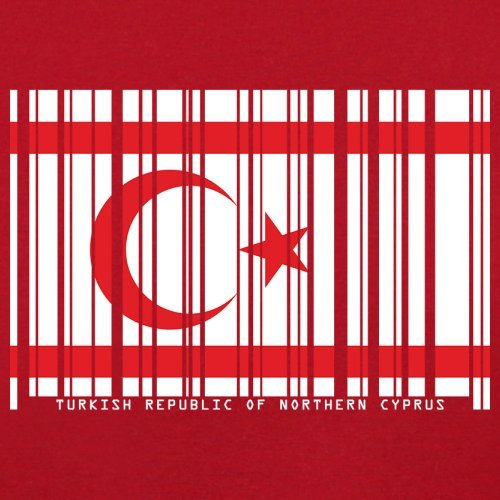 Turkish Republic of Northern Cyprus / Türkischen Republik Nordzypern Barcode Flagge - Herren T-Shirt - Rot - XS