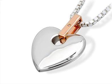 Clogau Gold 925 Silver and 9ct Rose Gold Cariad Love Heart Locket of 45.7cm pQrMZ0Y