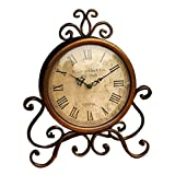 KiaoTime I Retro Vintage Decorative Desk Clock Antique Shelf Clock Shabby Chic Table Clock Brown Patina