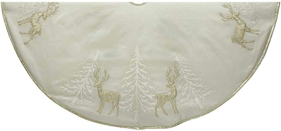 Kurt Adler TS0156 Silver Hand Embroidered Treeskirt 48
