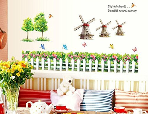 - chengdar732 Vinyl Sticker Garden Fence Flower Wall Art Butterfly Birdhouse Sayings Big Bird Windmill Beautiful nature scenery Quotes Decal Sticker Living Room Nursery Bedroom