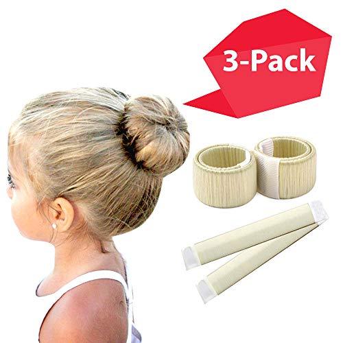 Blonde Magic Bun Maker - Mini Buns | 3 PACK | Perfect Small Hair Bun Maker | Bun Maker Kids | Thin Hair Girls Women | Easy Bun Hair | Smaller Bun | Donut Hair | Ballet Bun Maker | Blonde Hair Bun Tool