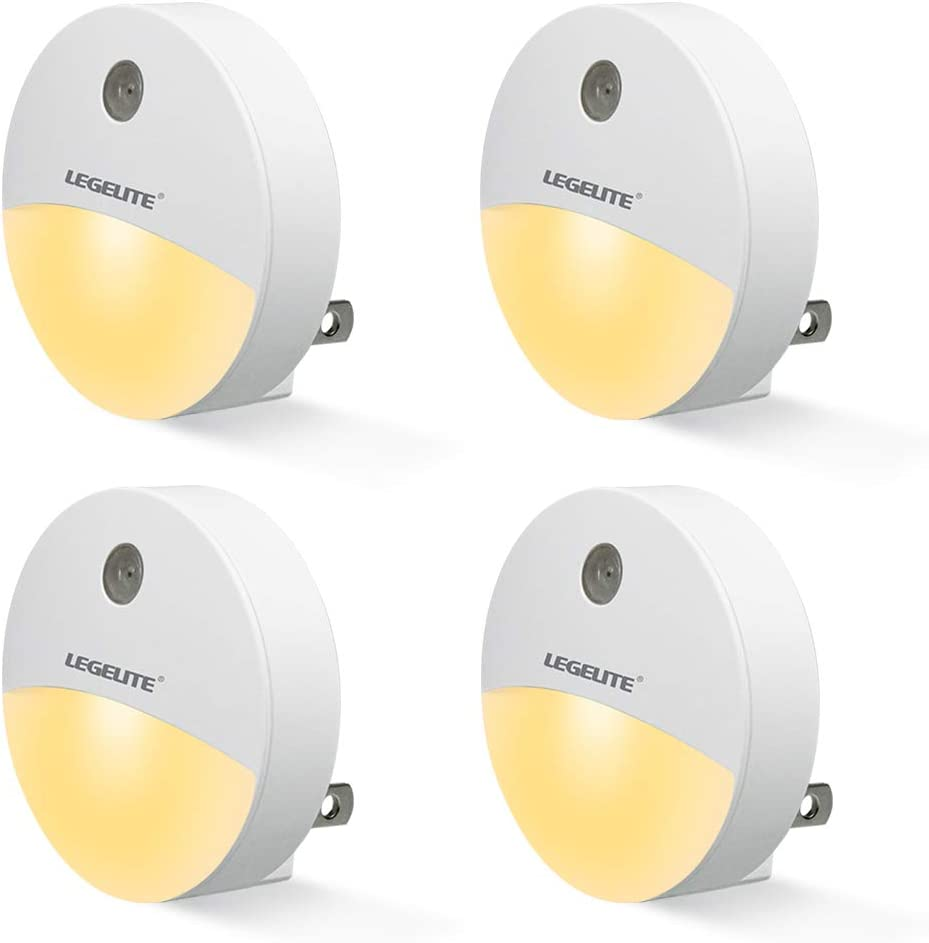 LEGELITE Plug-in Night Light, Warm White LED Nightlight, Dusk-to-Dawn Sensor, Bedroom, Bathroom, Kitchen, Hallway, Stairs, Energy Efficient, Compact (4 Pack)