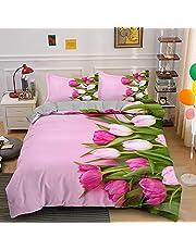 Eenpersoons Dekbedovertrek Set Roze Rose, Easy Care Microfiber Beddenset 135x200 cm met Ritssluiting Inclusief 1 kussensloop 50x75 cm