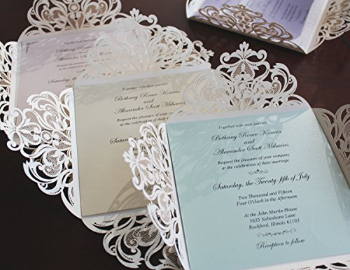 Picky Bride Laser Cut Wedding Invitations Elegant Customized Invitations with your Invite Wording - Set of 50 (Purple Inserts) by Picky Bride (Image #2)