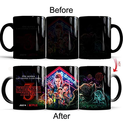Raleighsee Stranger Things 3 TV Show Novelty Ceramic Heat Sensitive Color Changing Mug - 350ml Office Drinking Cup Fans Gift (Drinking Cups Novelty)
