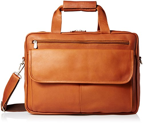 Piel Leather Slim Top-Zip Briefcase, Saddle, One Size (Cowhide Top Grain Briefcase)
