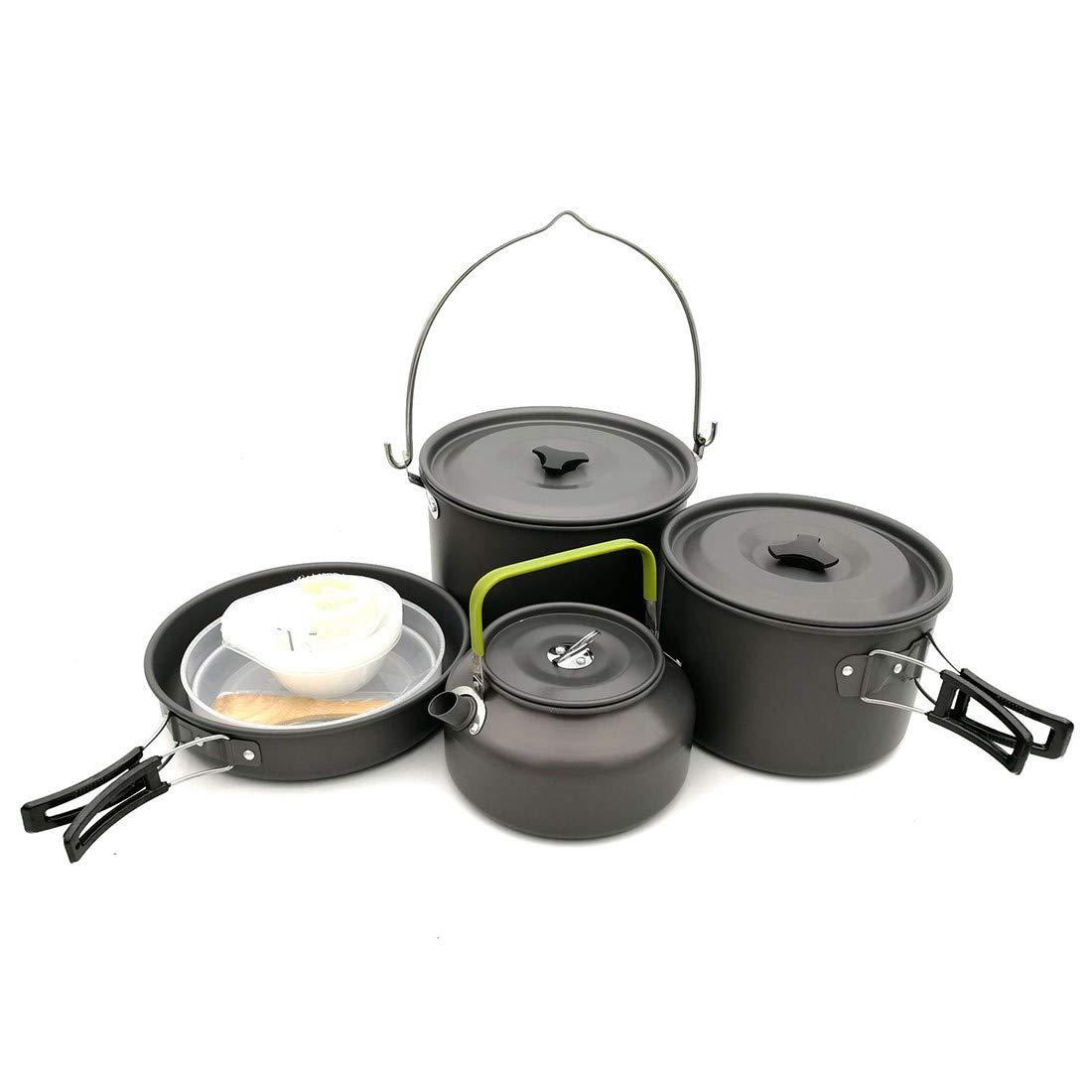 FYHCY Camping Cocina 5-6 Personas Set de Cocina para Camping de Aluminio anodizado Ligero Port/átil para Excursiones Viajes con Mochila y Actividades al Aire Libre Caminatas Parrillas