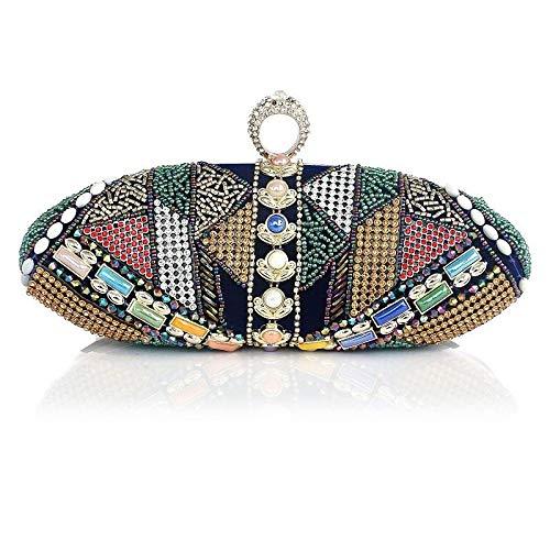 Bleu Femme En Sacs à Classique Pochette QZTG Large Fourre Perles Velours main sac Tout Bleu À Main Sacs wBFqUWxTI