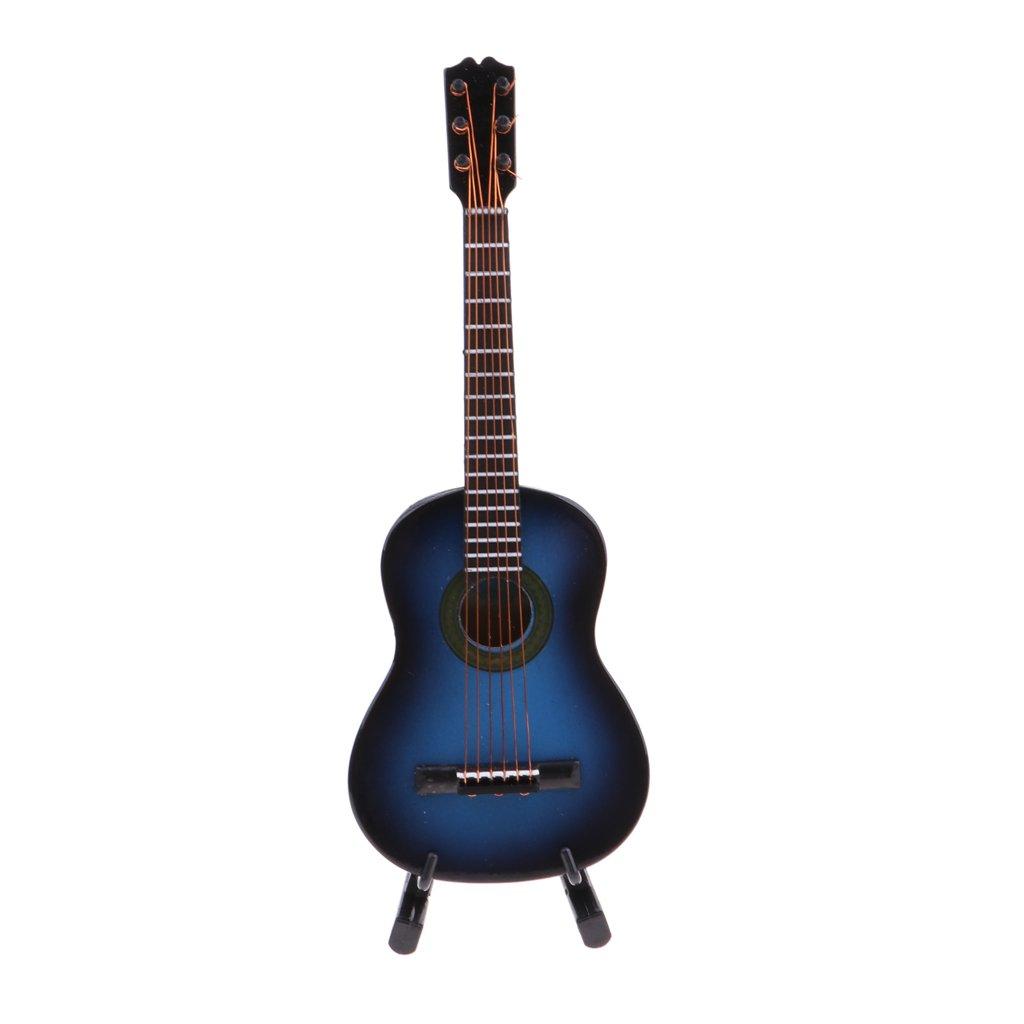 Amazon.es: Homyl Miniatura Guitarra para Casa de Muñecas Insturmento Musical para Niños para Estudiantes - Azul, 14cm: Juguetes y juegos