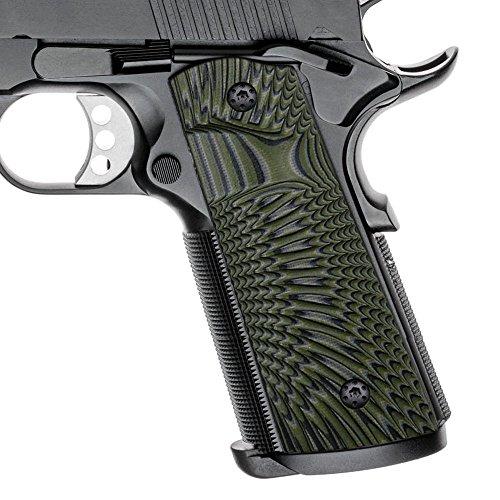 Cool Hand 1911 Full Size G10 Grips, Magwell Cut,Big Scoop, Ambi Safety Cut, Sunburst Texture, Brand, OD Green/Black