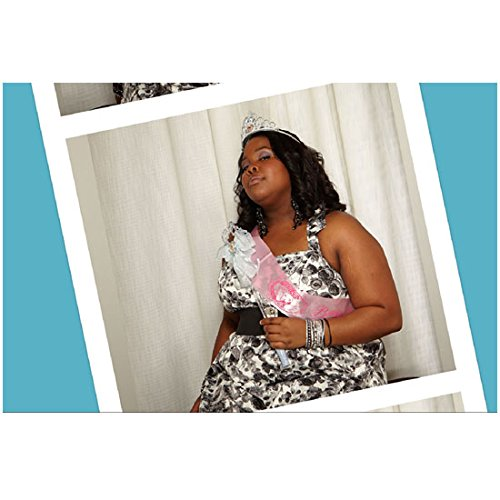Amber Riley 8 Inch x 10 Inch PHOTOGRAPH Glee (TV Series 2009 - 2015) Wearing Pink Sash Nose in Air kn
