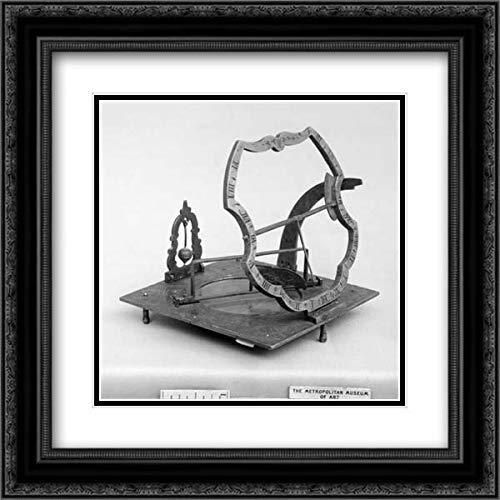 Lorenz Grasl - 28x28 Black Ornate Frame and Double Matted Museum Art Print - Portable Equatorial Sundial