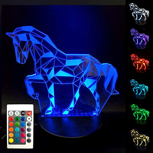 BJYHIYH Horse Lamp 16 Colors Changing Optical Illusion Lamp Remote Control Horse Night Lights for Kids Girls Boys Birthday -