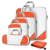 Gonex Compression Packing Cubes Mesh Organizers L+M+S+XS+Slim+Laundry Bag Tangerine