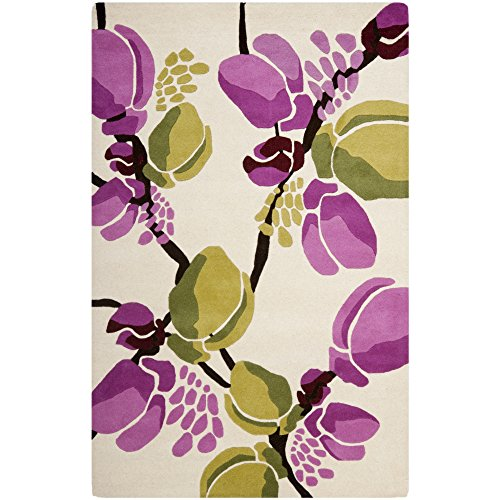 - Safavieh Soho Collection SOH718A Handmade Ivory and Pink Premium Wool Area Rug (5' x 8')