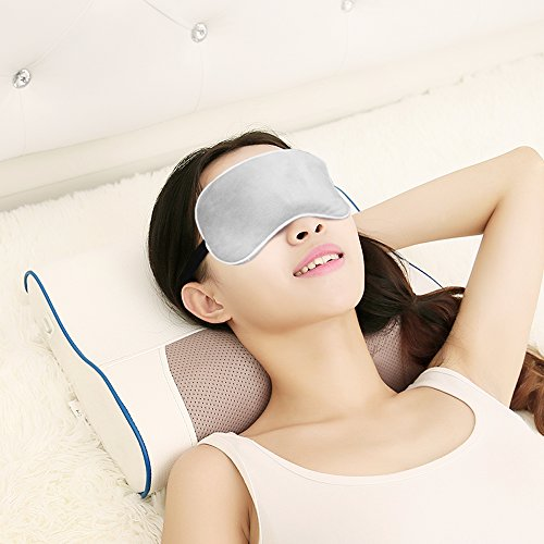 SLEEP MASK for Women and Men, Cute Warm Sleeping Eye Mask Adjustable Strap, Eye Patch can Block Light and heat your eyes, Smooth Mask for Nap, Travel And night Sleeping with the eye shade (Gray)