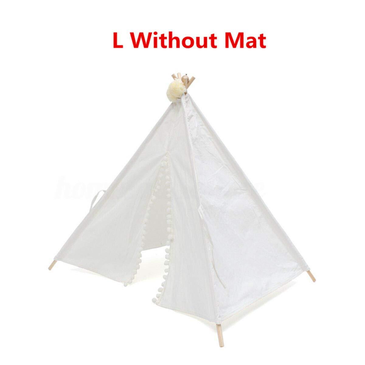 L Without Mat (707088Cm) FidgetGear Dog Cat Pet Teepee White Tent Portable Washable Sweet House Kids Play Tents S L L Without Mat (70  70  88Cm)