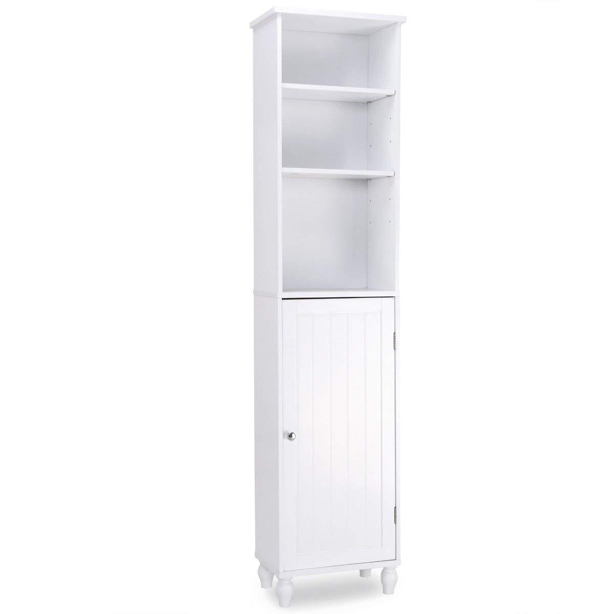 Giantex Storage Cabinet Free Standing Tower Shelf Bath Cabinet Home Kitchen, Living Room, Bathroom Storage Cabinet Wood Adjustable Shelves and Cabinet, White HW57022New