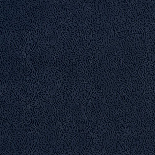Navy Vine Dark Blue Foliage Small Scale Microfiber Microsuede Velvet Performance Grade Upholstery Fabric by the yard