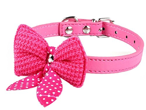 1Pc-Howling-Popular-Pet-Bow-Collar-Sweet-Polka-Dot-Dog-Adorable-Cat-Choker-Color-Hot-Pink