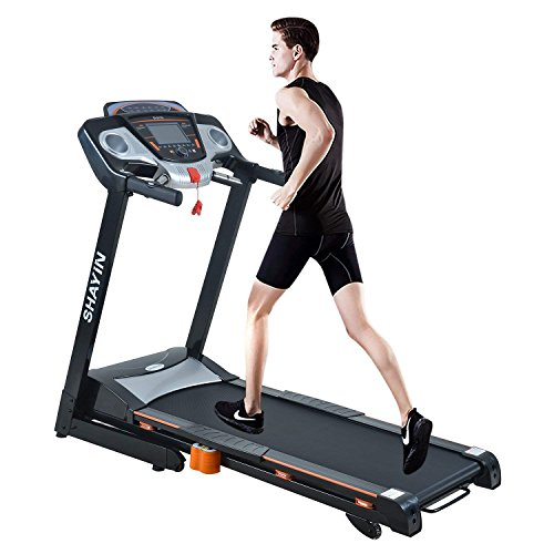 Shayin Folding Electric Treadmill Easy Assembly Power Motorized Running Fitness Jogging Machine 3 manual programs, 12 automatic programs, 1 FAT program with Rolling Wheels (US Stock)