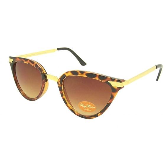 Chic-Net Sonnenbrille Damen Vintage getönt 400UV Cat Eye golden Metall getigert braun QgbaXgOlC1