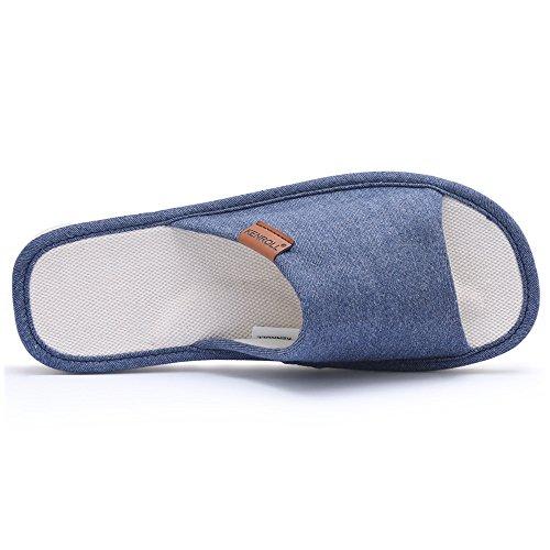 KENROLL Anti-Rutsch-Leinen Baumwoll-Hausschuhe Für Damen Soft Bequeme Feuchtigkeit Wicking Flachs Indoor Home Hausschuhe Für Herren Marineblau