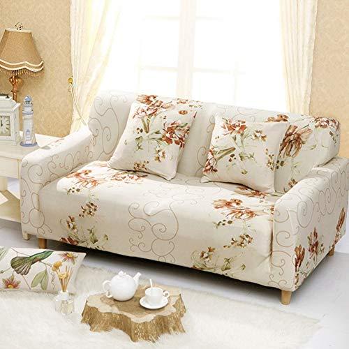 KKONION Elastic Sofa Cover Stretch Fabric Anti-Slip Flexible Sofa Covers for Single/Love Seat/L-Style Sectional/Corner (Fabric Slipcovered Loveseat)