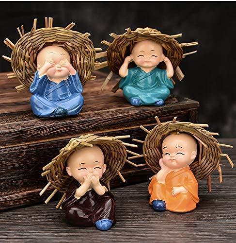 Natali Traders Polyresin Baby Hat Monk Buddha Idols Standard Multicolour, 4 Pieces