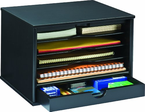 Victor wood midnight black collection 4 shelf desktop - Desk shelf organizer ...
