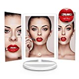 LAJOUR Makeup Mirror Led Lighted Makeup Mirror with Rechargeable Vanity Mirror Touchscreen Dimmable Light for Countertop Cosmetic Makeup(White)