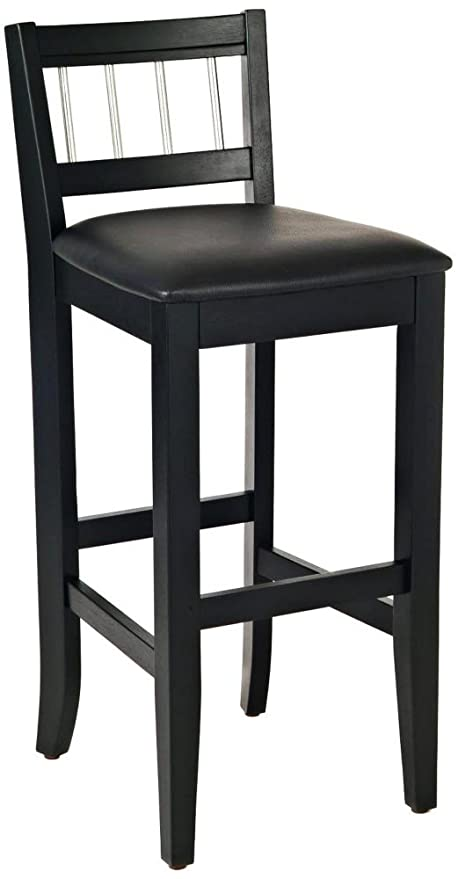 Home Styles 5123 89 Manhattan Pub Stools With Stainless Steel Accents,  Black Finish,