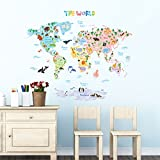 Decowall DMT-1615S Animal World Map Kids Wall Decals Wall Stickers Peel Stick Removable Wall Stickers Kids Nursery Bedroom Living Room (Large)