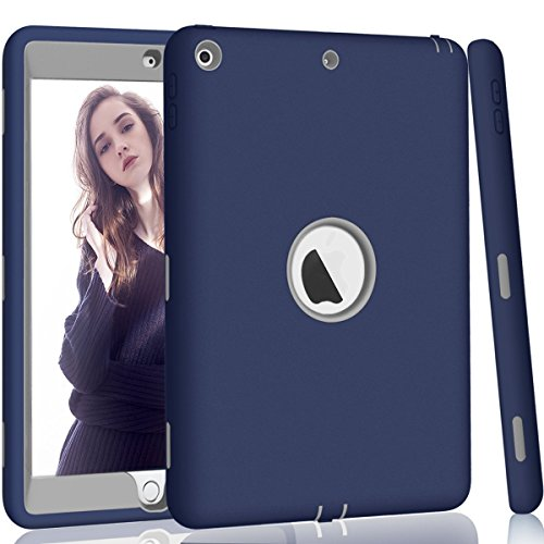 iPad 5th/6th Generation Case, iPad 9.7 2018/2017 Case, Hocase High-Impact Shock Absorbent Dual Layer Silicone+Hard PC Bumper Protective Case for iPad A1893/A1954/A1822/A1823 - Navy Blue/Grey