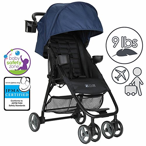 ZOE XL1 BEST Xtra Lightweight Travel & Everyday Umbrella Stroller System (London Navy)
