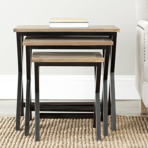 Safavieh American Homes Collection Jack Black and oak Stacking Tray Tables