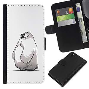 KLONGSHOP // Tirón de la caja Cartera de cuero con ranuras para tarjetas - niños lindos de invierno blanco bosquejo del oso polar - Sony Xperia Z3 D6603 //