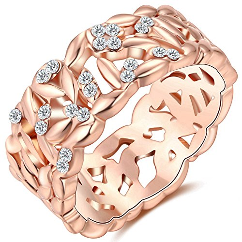 TEMEGO Rose Gold Tiny Crystal Cut Out Beautiful Ring For Women,CZ Art Deco Engagement Wedding Band