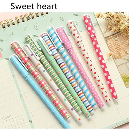10 pcs Black ink pens Classical flower Starry star ballpoint pen for writing signature Stationery Office School supply (Sweet Heart)