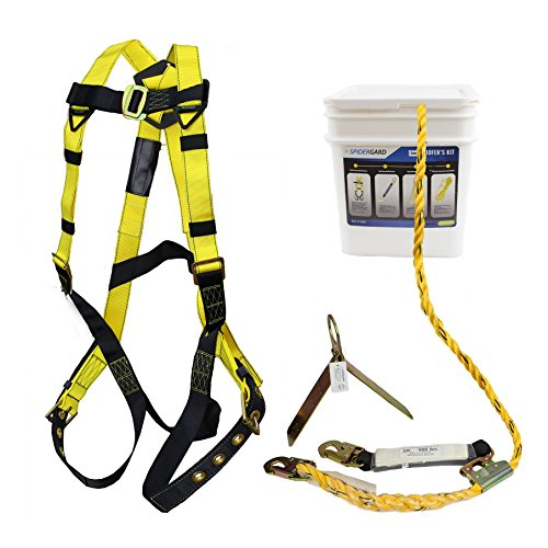 Spidergard SP-RFKIT Construction Harness with Leg Tongue Buckle Straps and 4 Pieces Roof Kit Combo
