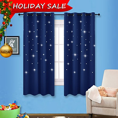 Romantic Starry Sky Blackout Curtains - NICETOWN Space Inspired Night Sky Twinkle Star Kid's Room Draperies, Creative Blackout Window Drapes for Bedroom (Two Panels, 52 x 63 inch Panel, Navy Blue) (Rectangular Shaped Panels)