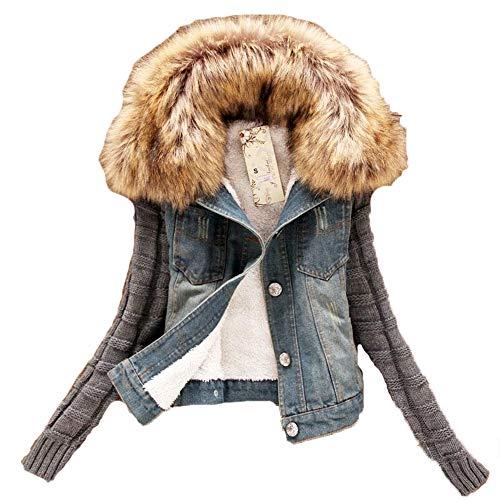poopy Winter Women Fleece Denim Short Jacket Slim Thicken Sherpa Coat Outerwear
